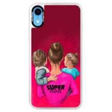 Neonové pouzdro Pink iSaprio - Super Mama - Boy and Girl - iPhone XR