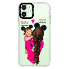 Silikonové pouzdro Bumper iSaprio - Mama Mouse Brunette and Girl - iPhone 12