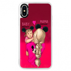 Neonové pouzdro Pink iSaprio - Mama Mouse Blond and Girl - iPhone X