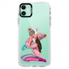 Silikonové pouzdro Bumper iSaprio - Kissing Mom - Brunette and Girl - iPhone 11
