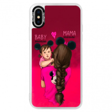 Neonové pouzdro Pink iSaprio - Mama Mouse Brunette and Girl - iPhone XS