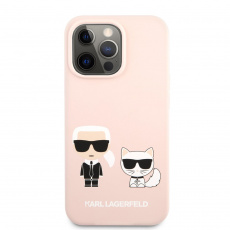 KLHCP13LSSKCI Karl Lagerfeld and Choupette Liquid Silicone Zadní Kryt pro iPhone 13 Pro Pink